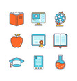 minimal lineart flat education iconset book pc vector image vector image
