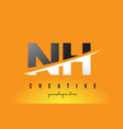 nh n h letter modern logo design with yellow vector image vector image