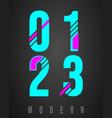 number font modern design set numbers 0 1 2 vector image