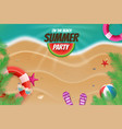 on the beach summer party topview background scene vector image vector image
