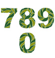 Ornamental figures numbers decorated with summer vector image