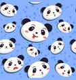 panda seamless pattern blue vector image