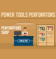 perforators online shop flat banner webpage