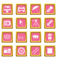 photo studio icons pink vector image vector image