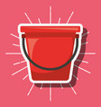 red bucket gardening tool cartoon style image vector image