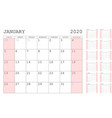 red calendar 2020 basic grid simple design vector image vector image