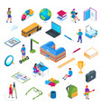 school and education isometric icon set 01 vector image vector image
