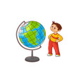 school boy with globe sphere map isolated on white vector image vector image