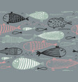 seamless pattern with hand drawn cute fish vector image