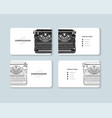 Set business cards with hand drawn vintage
