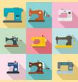 sew machine icon set flat style vector image