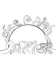 sketch cartoon octopus tentacles vector image vector image
