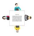 Square frame with people working at laptop vector image vector image