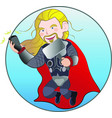 superhero viking with magic hammer taking selfie vector image