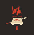 sushi banner with tray chopsticks and lettering vector image vector image