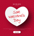 template a red banner with a white paper heart vector image