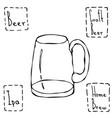 vintage beer mug hand drawn vector image vector image