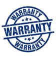 warranty blue round grunge stamp vector image vector image