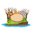 wild anima on wooden board vector image vector image