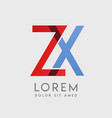 zx logo letters with blue and red gradation vector image vector image