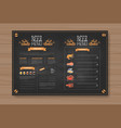 beer and sea food menu design for restaurant cafe vector image
