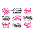 logo beauty salon lettering set custom handmade vector image