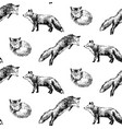 seamless pattern with hand drawn foxes vector image