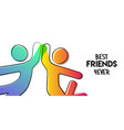 best friends card stick people doing high five vector image