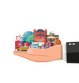 big school set in hand school supplies stationery vector image