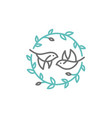 bird leaf crest logo icon for branding or wedding vector image vector image