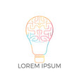 bulb and brain logo design vector image vector image