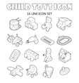 Child toys icons set outline style vector image