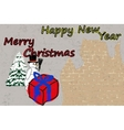 Christmas card with a background of a brick wall vector image vector image