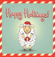 christmas with cute sheep vector image vector image