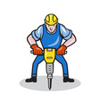 Construction Worker Jackhammer Pneumatic Drill vector image vector image