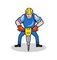 Construction Worker Jackhammer Pneumatic Drill vector image vector image