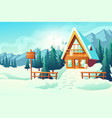 cottage house in winter mountains cartoon vector image