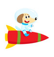 cute little dog puppy astronaut spaceman vector image vector image