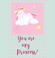cute unicorn cards magic baby vector image vector image