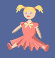 doll in a pink dress with bows toy for girls vector image