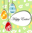 Easter background with hanging eggs vector image