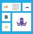flat icon marine set of tentacle conch cachalot vector image vector image