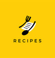 fork spoon recipe paper logo icon vector image