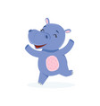 funny happy baby hippo character jumping cute vector image vector image
