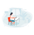girl working at home office vector image