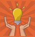 hand holding lightbulb idea inspiration creative vector image