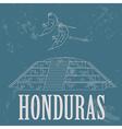Honduras landmarks Copan Ruinas ara parrot Retro vector image vector image