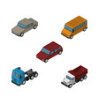 isometric car set of freight truck car and other vector image vector image