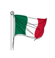 italian flag continuous line vector image vector image