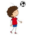 little boy bouncing football on his head vector image vector image